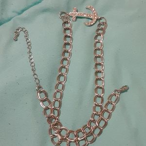 Silver jeweled anchor necklace